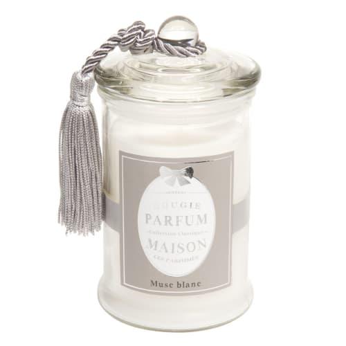 Bougie en verre parfum musc blanche H 9 cm  Maisons du Monde