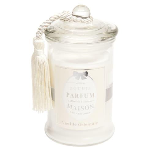 Bougie en verre parfum vanille blanche H 9 cm  Maisons du Monde