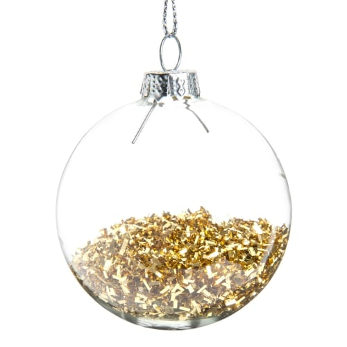 Boule de Noël en verre avec paillettes dorées Pluie De Paillettes