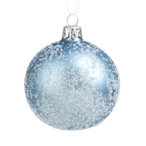 Boule de Noël en verre bleu glacier effet givré | Maisons du Monde