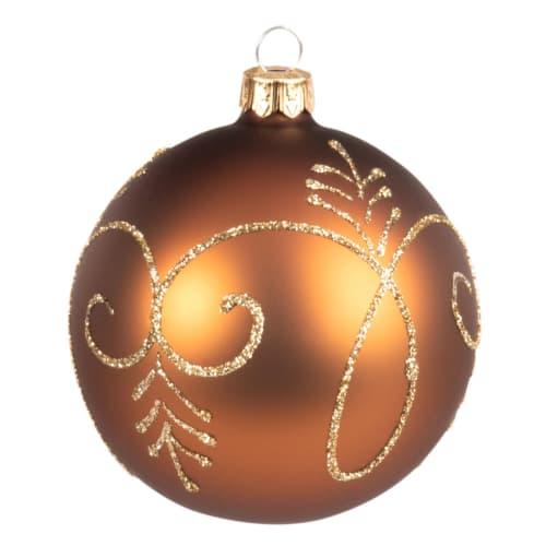 Boule De Noel Orange Boule de Noël en verre orange et paillettes dorées | Maisons du Monde
