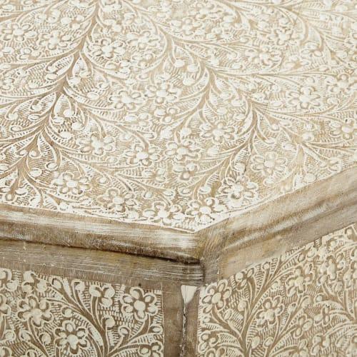 Bout de canapé en bois blanchi L 49 cm Patna | Maisons du ...