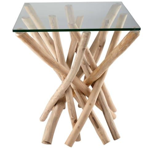 Bout de canapé en verre et branches de teck