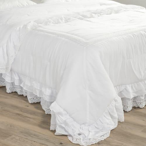 Boutis en coton blanc 240 x 260 cm | Maisons