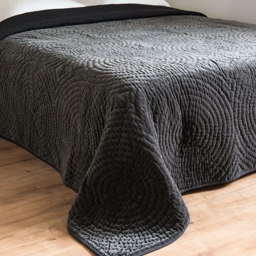 Boutis en coton gris effet velours à motifs