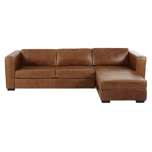 Brown 4-Seater Leather Right-Hand Corner Sofa Bed | Maisons du Monde