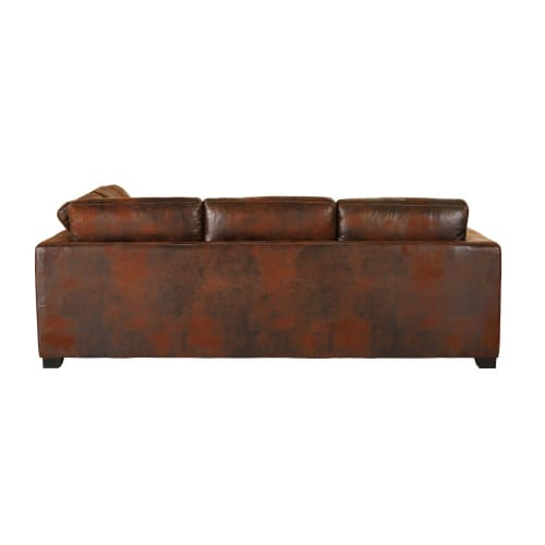 Brown 5 Seater Microsuede Right Hand