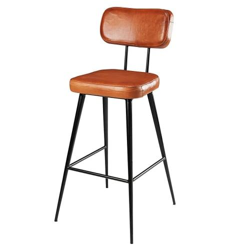 Brown Goatskin And Black Metal Bar Chair Clapper Maisons Du Monde