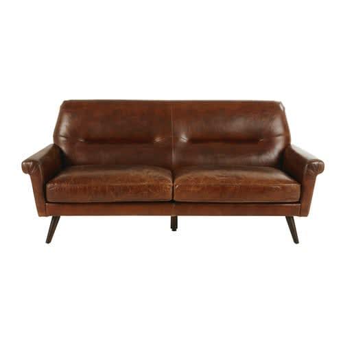 Superb Brown Vintage 3 Seater Leather Sofa Home Interior And Landscaping Ponolsignezvosmurscom