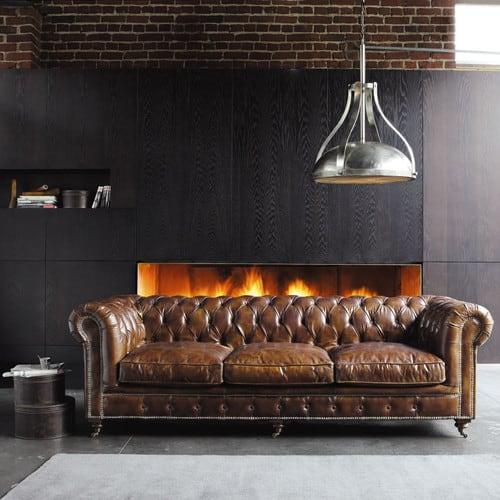 Bruin Leren Design Bank.Bruine Leren Gestoffeerde 4 Zitsbank Vintage