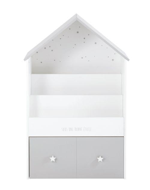 Bücherregal in Hausform für Kinder mit 1 Schublade, grau und weiß