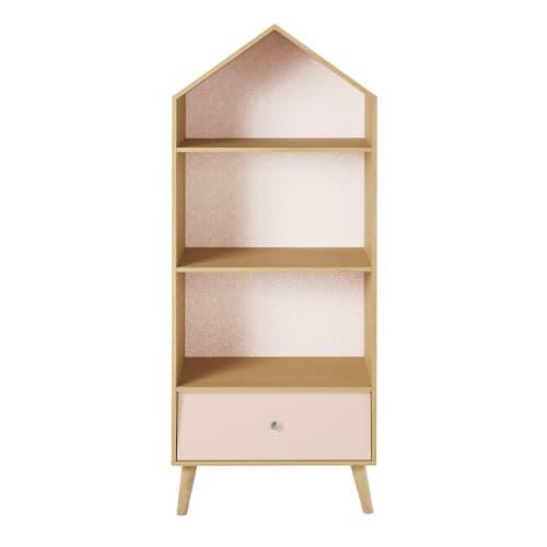 Bücherregal in Hausform für Kinder, rosa und weiß