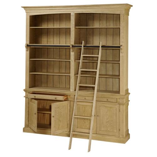 Bücherregal mit 2 Schubladen, 4 Türen und Leiter aus massiver Eiche