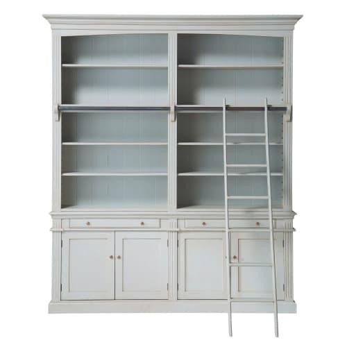 Bücherregal Mit 2 Schubladen 4 Türen Und Leiter Grau