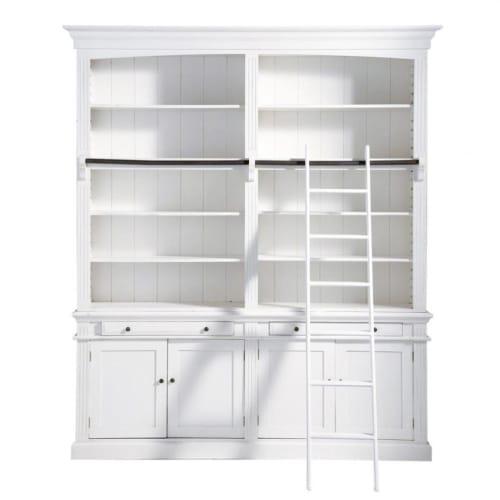 Bücherregal Mit 2 Schubladen 4 Türen Und Leiter Weiß