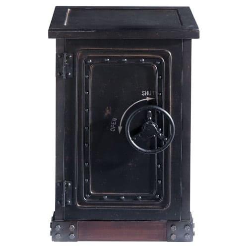 meilleure sélection fdb34 bffd5 Cabinet de rangement coffre-fort en bois noir effet vieilli L 53 cm