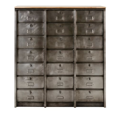 Cabinet Indus 21 Tiroirs En Metal Mabillon Maisons Du Monde