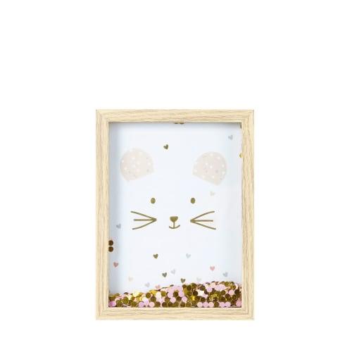 Cadre imprimé souris à paillettes 15x20