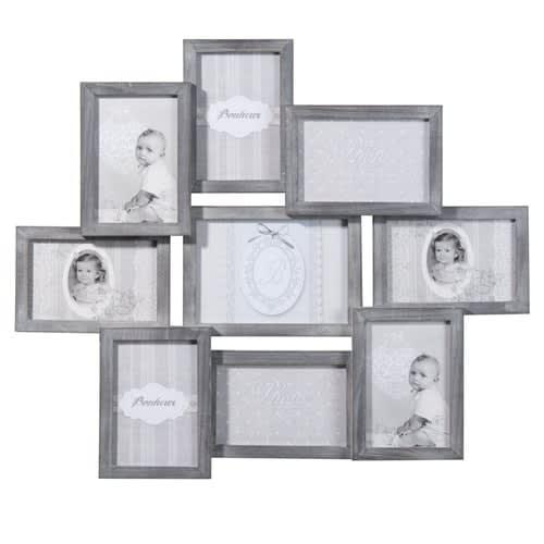 Cadre photo gris 9 vues 50 x 58 cm