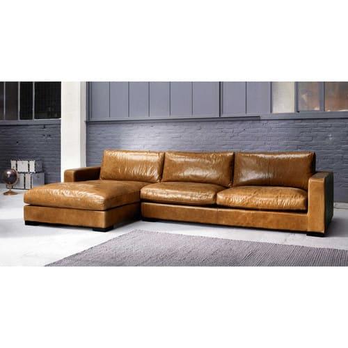 Camel 5-Seater Vintage Leather Corner Sofa