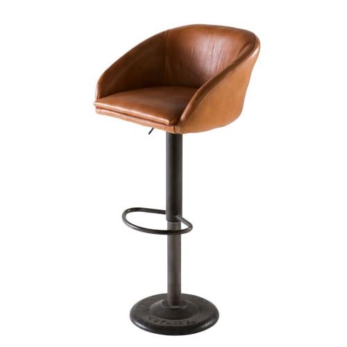 Camel Industrial Leather Bar Chair Gama Maisons Du Monde