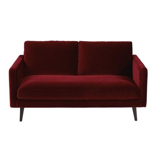Canapé 2 places en velours bordeaux