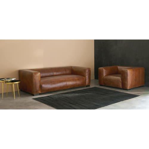 Canapé 3/4 places en cuir marron John   Maisons du Monde