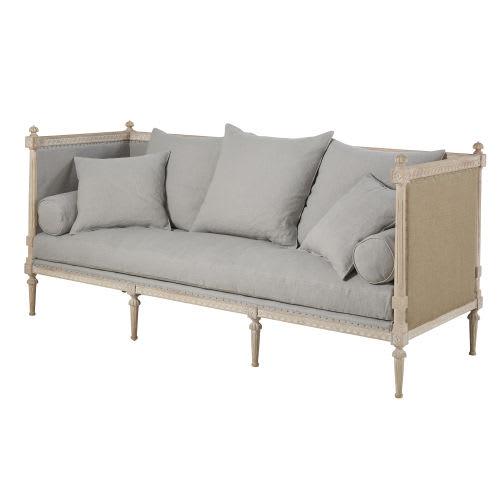 canap 3 places en lin gris bleu adele maisons du monde. Black Bedroom Furniture Sets. Home Design Ideas