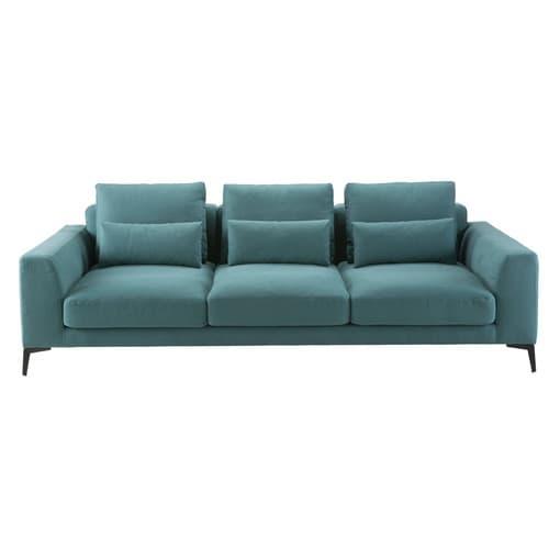 Canapé 4 places en coton et lin bleu canard