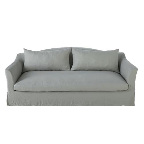 Canapé 9 places en lin lavé gris clair  Maisons du Monde