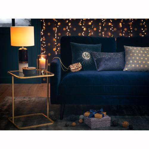 Canapé 4 places en velours bleu nuit