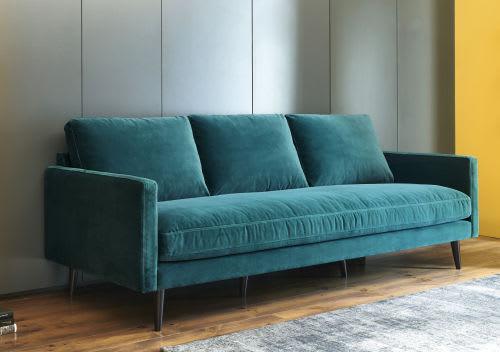 Canapé 4 places en velours bleu paon