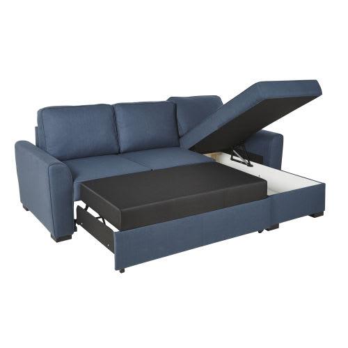 Canapé d\'angle convertible 3/4 places bleu nuit
