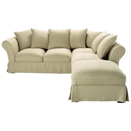 taille 40 c0b26 0bded Canapé d'angle convertible 6 places en lin beige