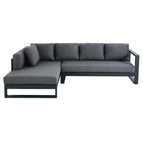 Canapé d\'angle de jardin 4/5 places en aluminium noir