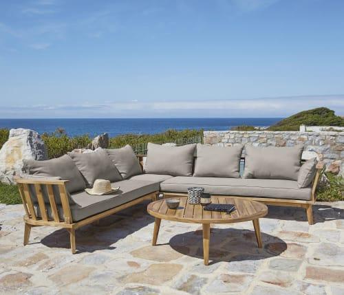 canape d angle de jardin 4 6 places en acacia massif et toile taupe maisons du monde