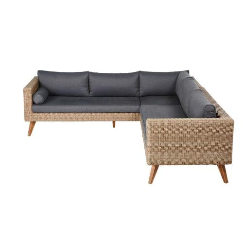 Canapé d\'angle de jardin 5 places en résine tressée
