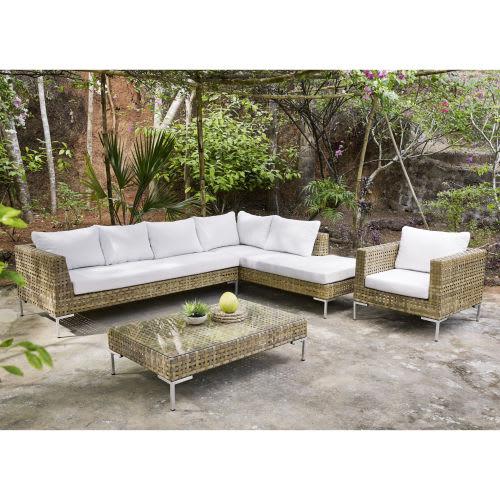 Canapé d\'angle de jardin 6 places en résine tressée marron