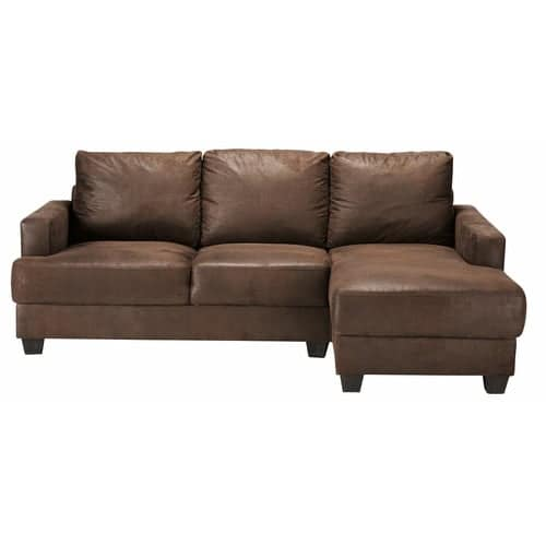 Canapé d\'angle droit 3/4 places en microsuède marron