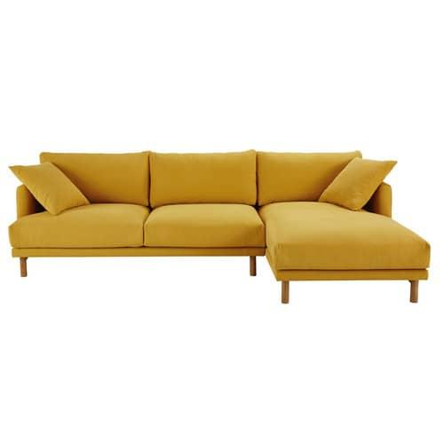 meilleur service 3f8f6 7ddf5 Canapé d'angle droit 5 places en coton et lin jaune moutarde
