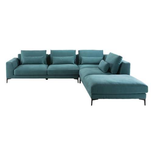 Canapé d\'angle droit 6 places en coton et lin bleu canard