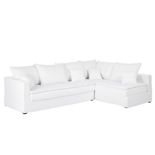 énorme réduction f2ec3 47765 Canapé d'angle droit convertible 5 places en lin lavé blanc