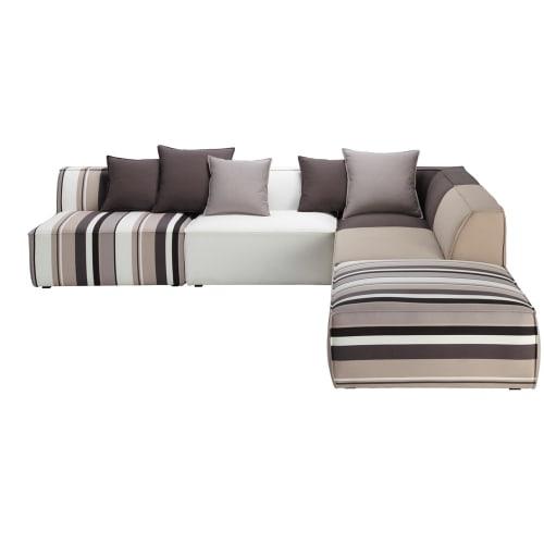 Canapé d\'angle modulable à rayures 5 places en coton