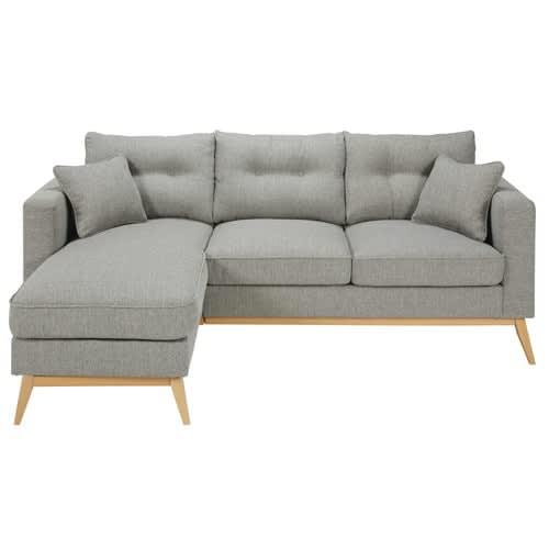 design intemporel d7dbe f5419 Canapé d'angle style scandinave 4/5 places gris clair
