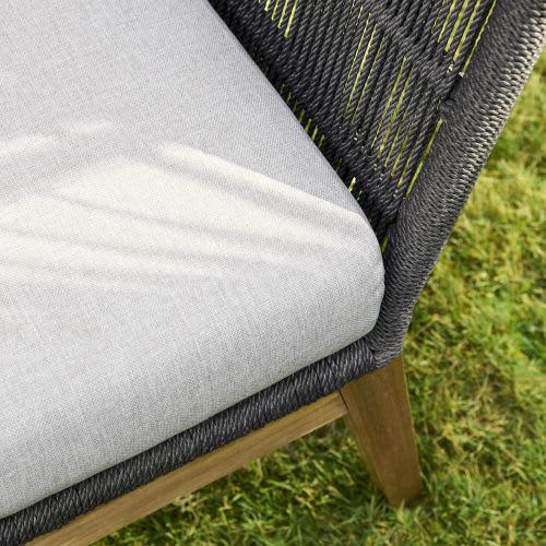 Canapé de jardin 2 places en corde tressée gris anthracite