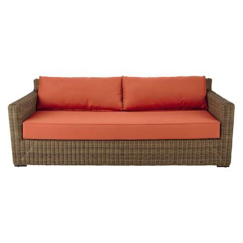 Canapé de jardin 3/4 places en résine tressée et coussins terracotta