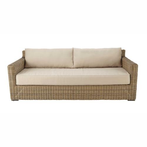 Canapé de jardin 3/4 places en résine tressée et tissu beige sable |  Maisons du Monde