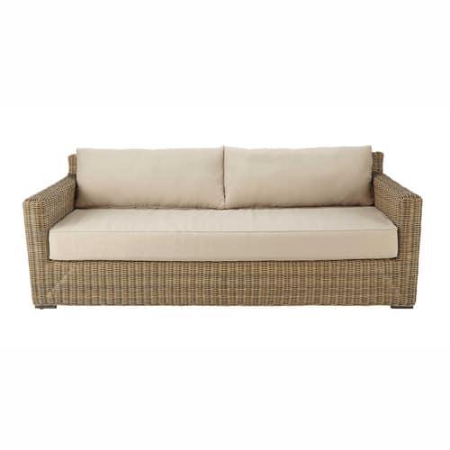 Canapé de jardin 3/4 places en résine tressée et tissu beige sable