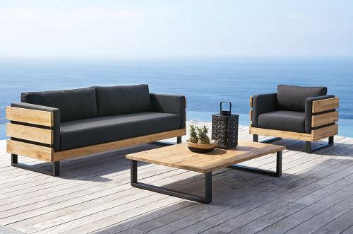 Canapé de jardin 3/4 places en teck massif recyclé et toile noire