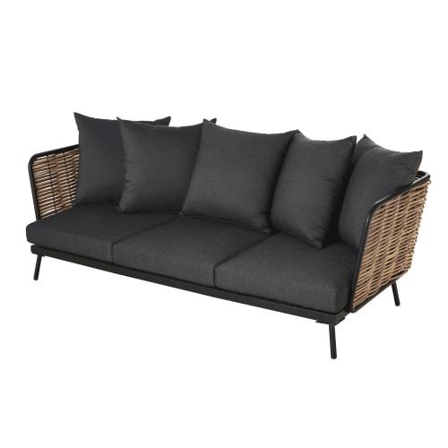 Canapé de jardin 3 places en résine imitation rotin et toile gris anthracite